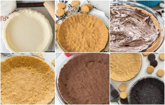 A collage of six different types of pie crust