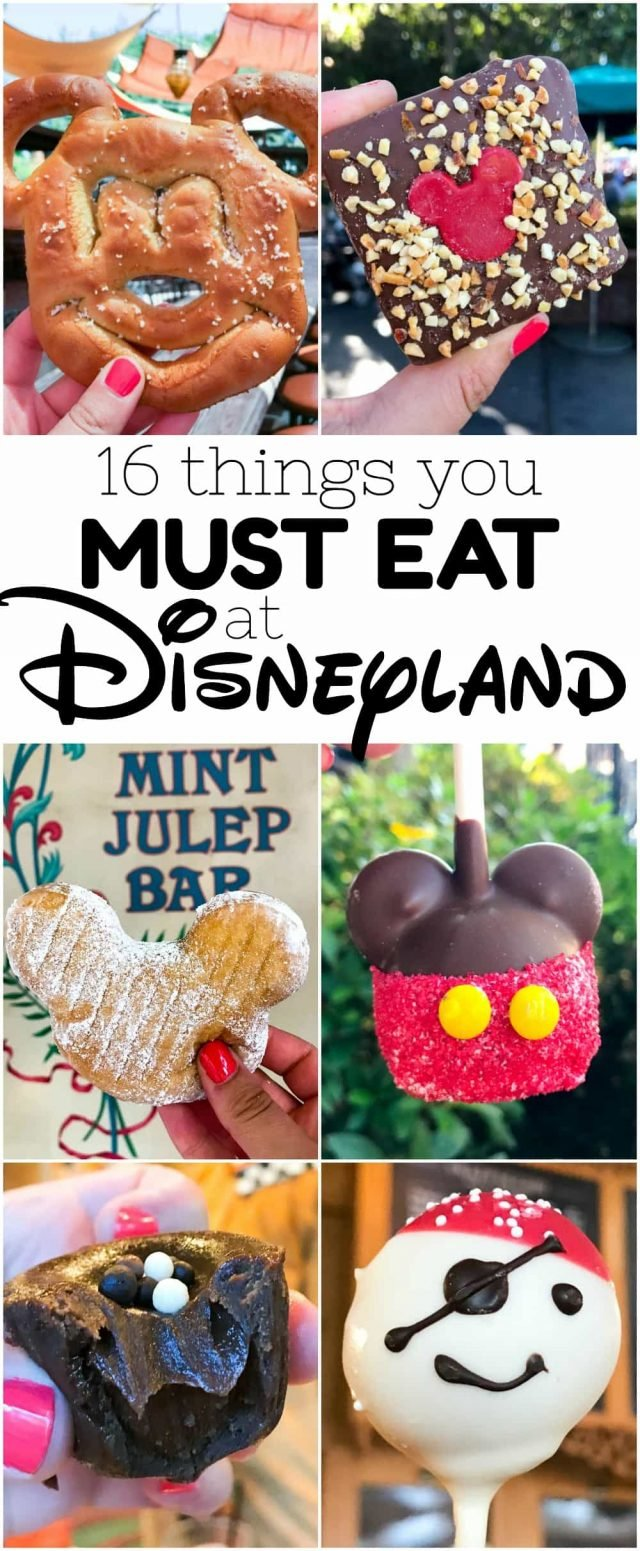 16 Things you MUST EAT at Disneyland - don't miss these restaurants and treats when you're at Disneyland! From meals to candy to snacks, this list has EVERYTHING!