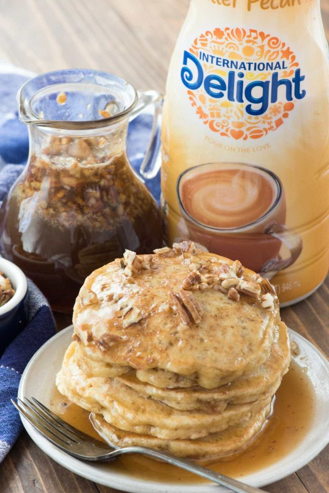 Butter pecan pancakes made with International Delight coffee creamer