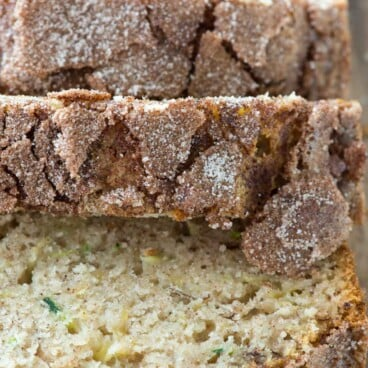 Sliced Cinnamon Sugar Zucchini Banana Bread