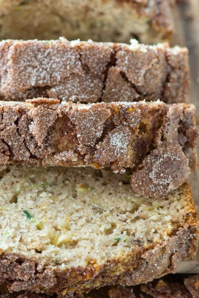 Cinnamon Sugar Zucchini Banana Bread close up sliced