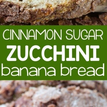 Collage of Cinnamon Sugar Zucchini Banana Bread