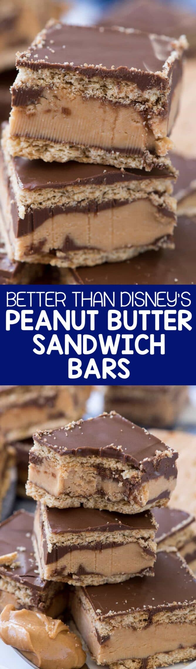 Disneyland Peanut Butter Sandwich Bars collage photos- this no bake bar cookie is better than the Disneyland Peanut Butter Sandwich. Graham crackers sandwiched with a thick peanut butter layer and lots of chocolate!