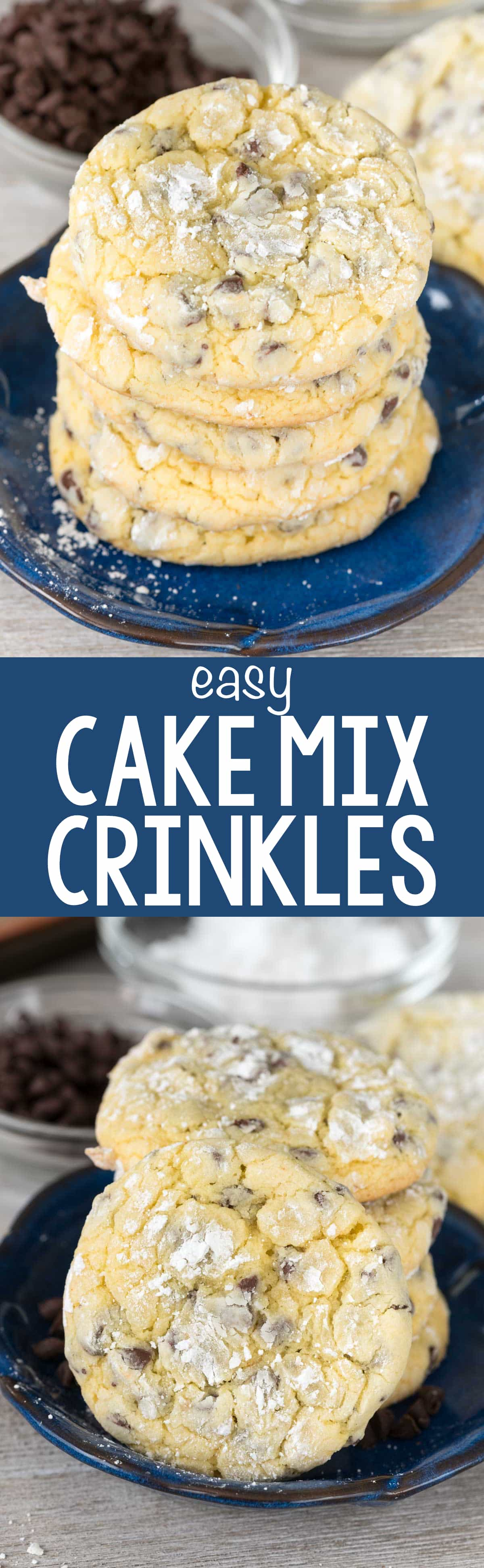 Easy Cake Mix Crinkle Cookies - this easy recipe combines cake mix cookies with an easy crinkle cookie recipe! No one will guess they're from a cake mix.