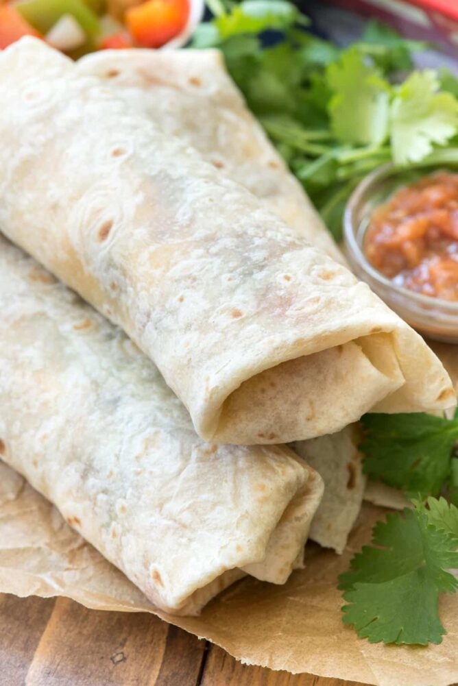 Mexican breakfast burritos in a stack