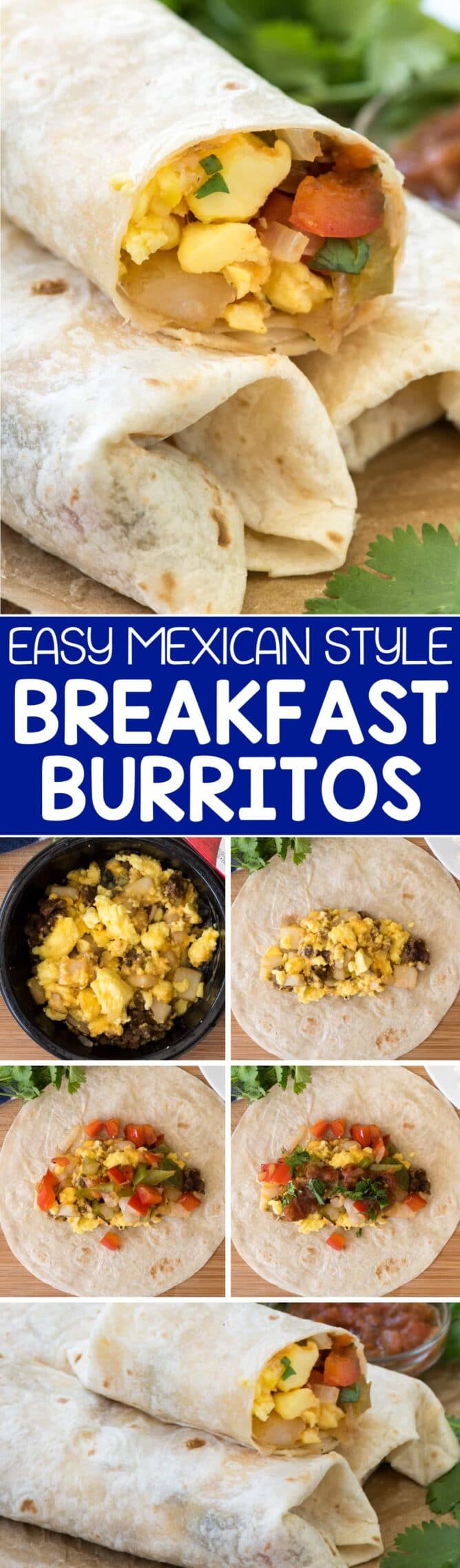 Easy Mexican Breakfast Burritos collage photo! These semi-homemade breakfast burritos start with a frozen breakfast bowl and have added vegetables and Mexican flavors. These are the PERFECT breakfast for on the go!