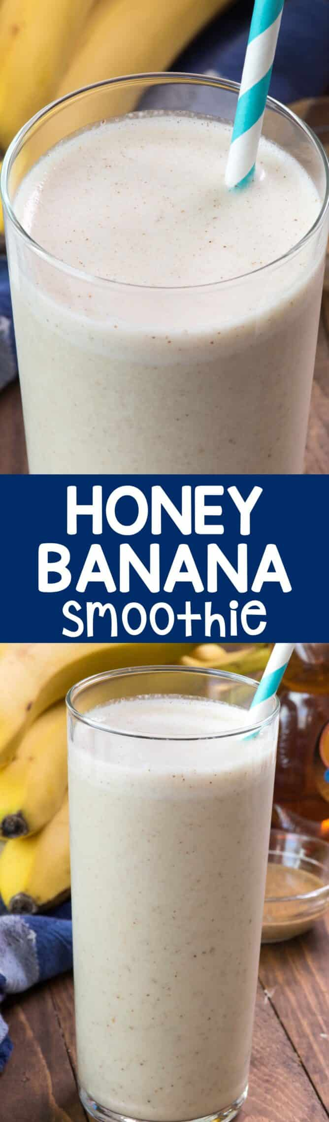 Honey Banana Smoothie collage photo