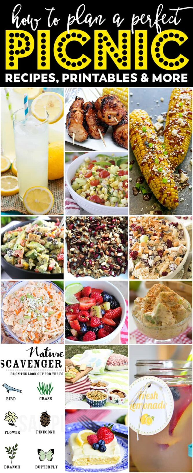 Collage of The BEST Summer Picnic recipes, ideas, printables, and more!