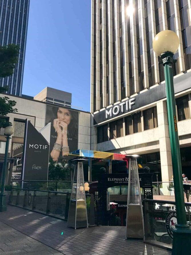 outside of the Motif Hotel in Seattle