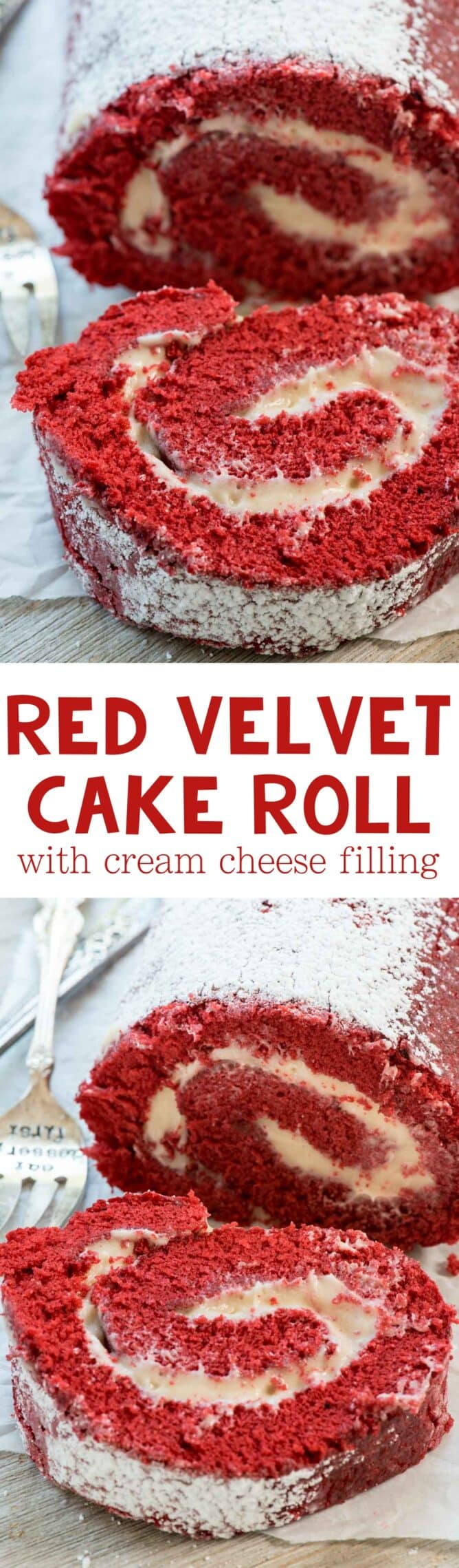 Red Velvet Cake Roll collage photo with slices