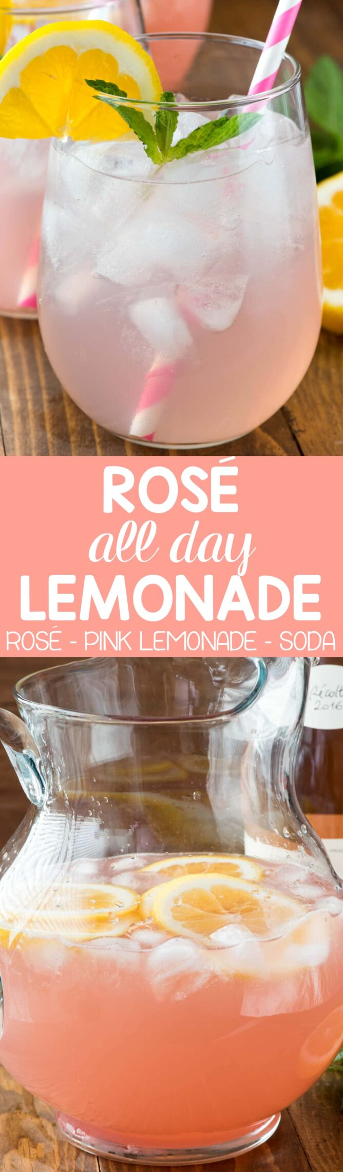 Collage photo Pink Rose Lemonade this easy 3 ingredient Rose All Day Lemonade is perfect for summer!