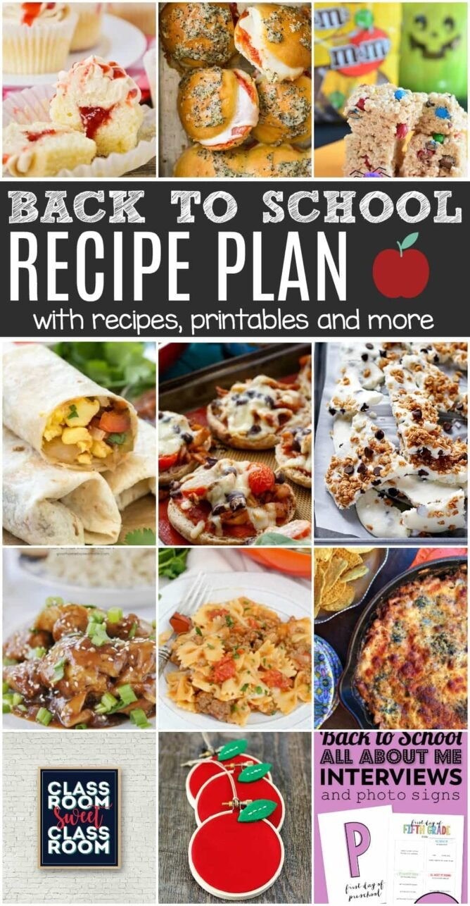 Back To School Recipe plan photo collage with 12 images of recipes and crafts