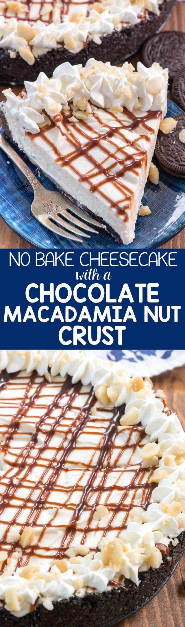 The PERFECT No Bake Cheesecake with Chocolate Macadamia Nut Crust! This easy cheesecake recipe is perfect with an oreo crust filled with macadamia nuts. No bake means the perfect for summer recipe!