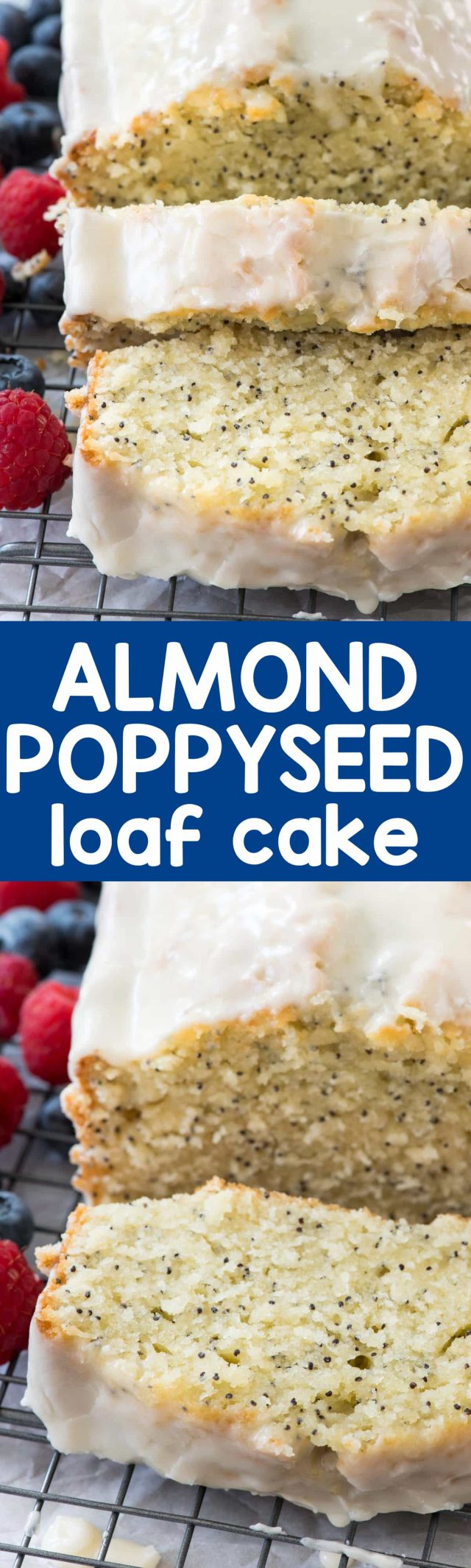 Almond Poppyseed Loaf Cake is an easy pound cake recipe that's made in a loaf pan. It's like a quick bread but a cake all in one, full of almond extract flavor and poppyseed!