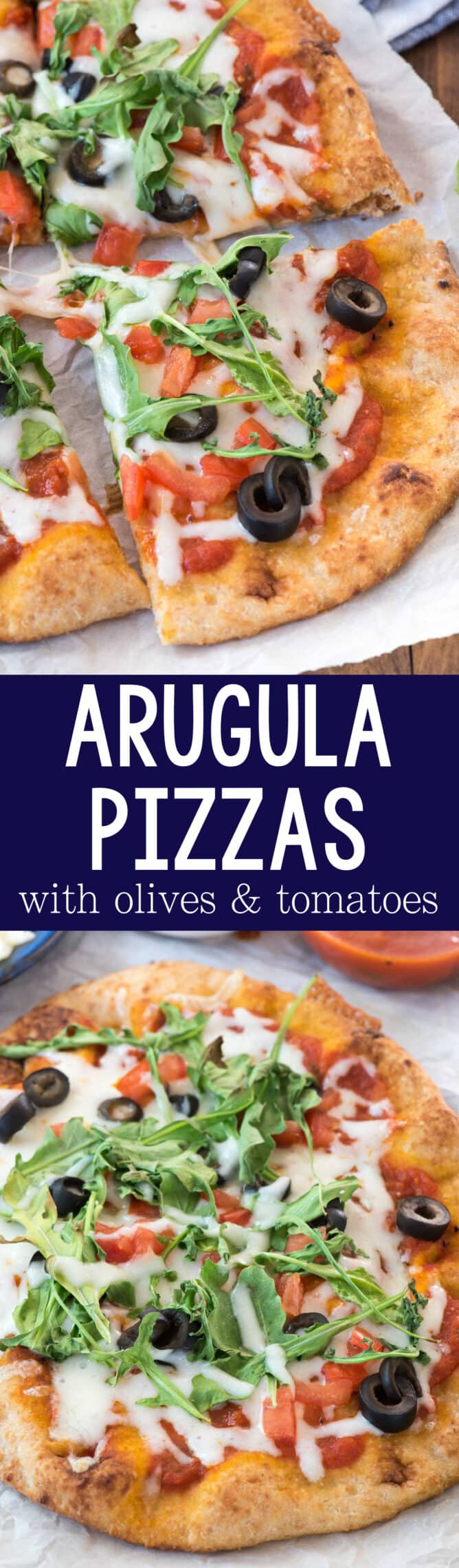 Arugula Pizzas collage photo of sliced and whole pizza