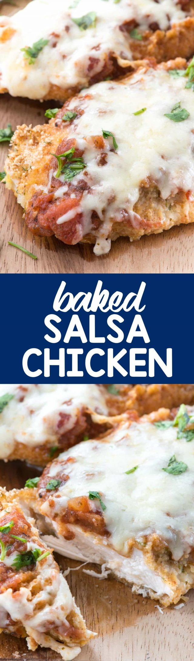 Baked Salsa Chicken - this easy chicken dinner recipe is perfect every time! Lightly breaded chicken is baked with salsa and cheese and comes out moist and tender. This recipe is adult and kid approved!