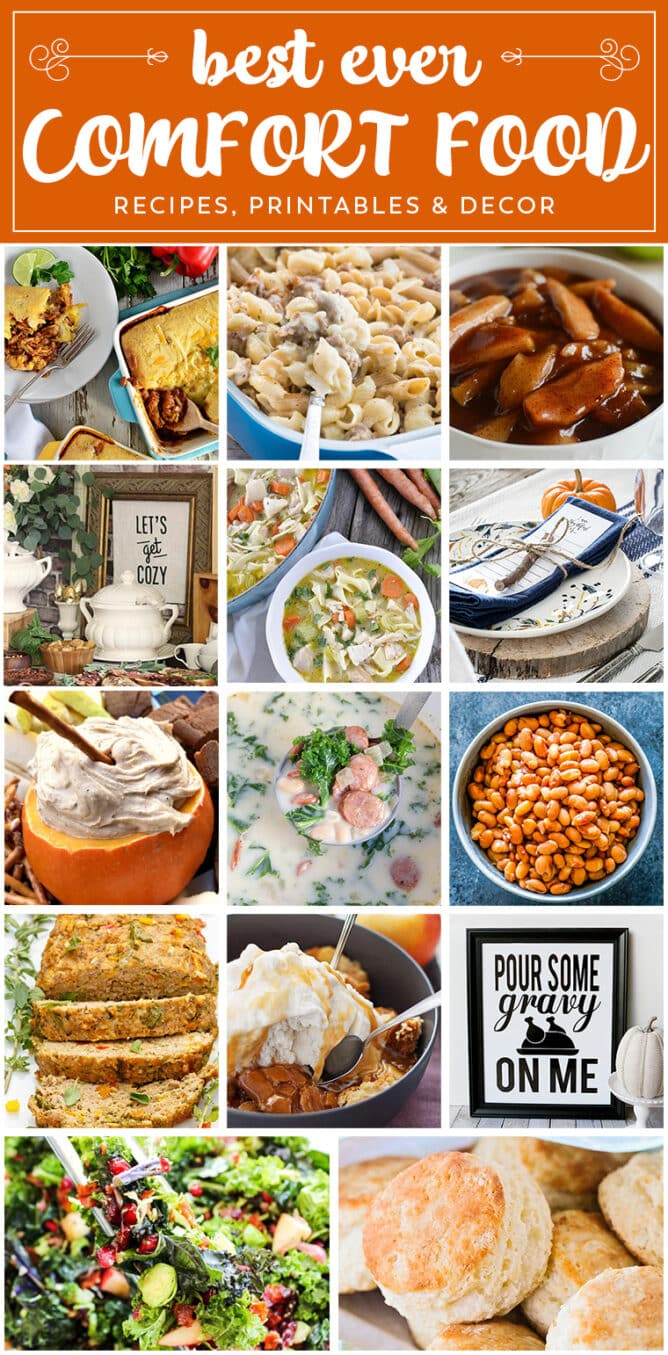 comfort food collage of 14 photos of recipes and crafts