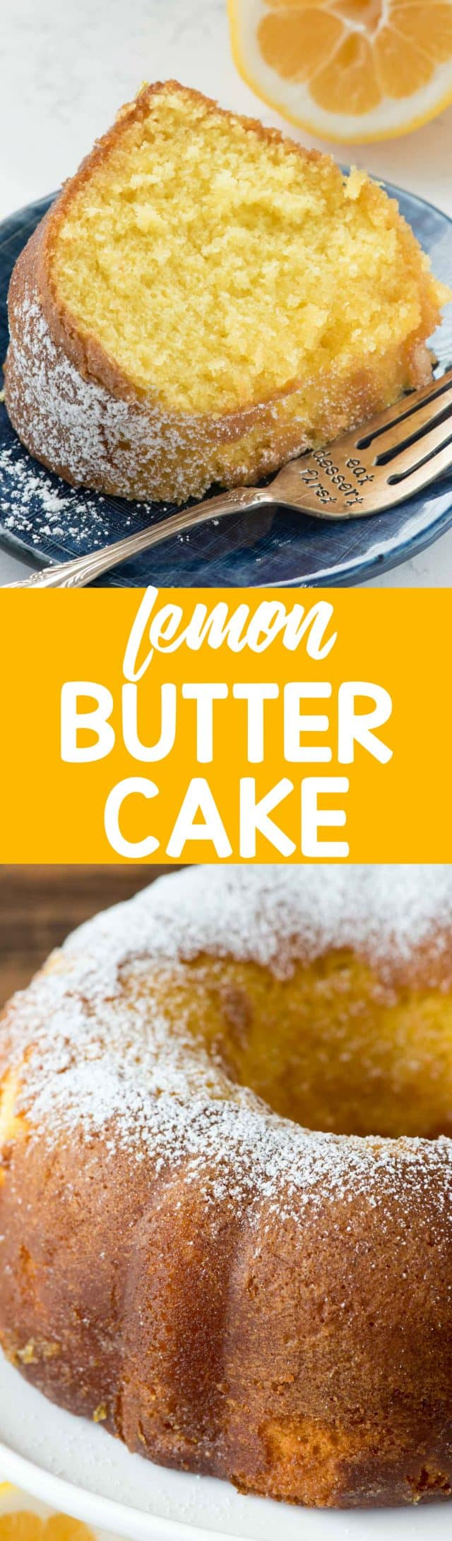 Easy Lemon Butter Cake collage photo of slice and cake