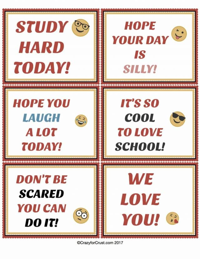 Emoji Lunchbox Notes for back to school free printable