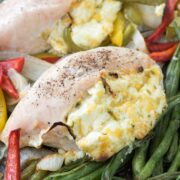 Jalapeno Popper Sheet Pan Chicken with green beans
