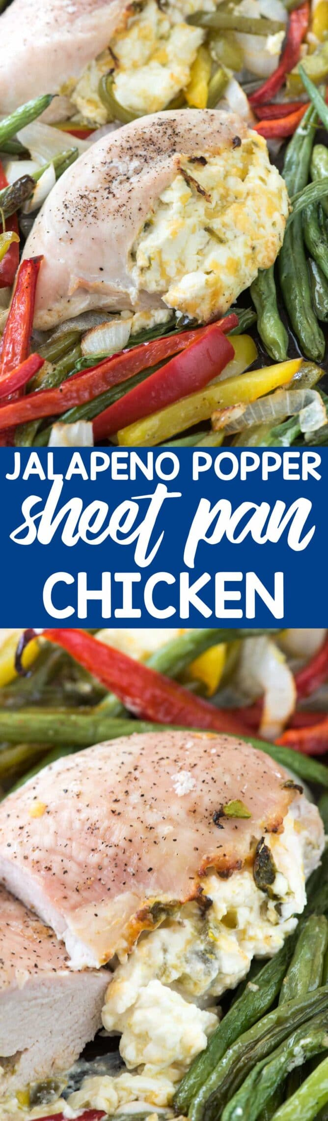 collage of Jalapeño Popper Sheet Pan Chicken photos - this EASY chicken dinner is a sheet pan meal that's done fast! It's the perfect easy weeknight meal; chicken breasts stuffed with a creamy jalapeño mixture!