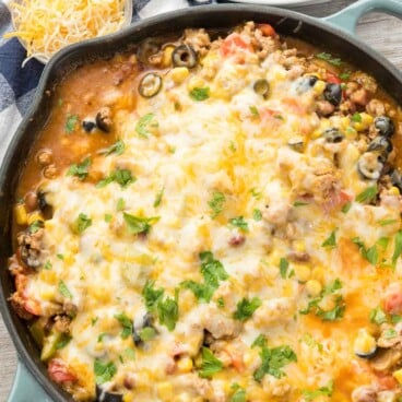One Pot Taco Casserole in a large skillet