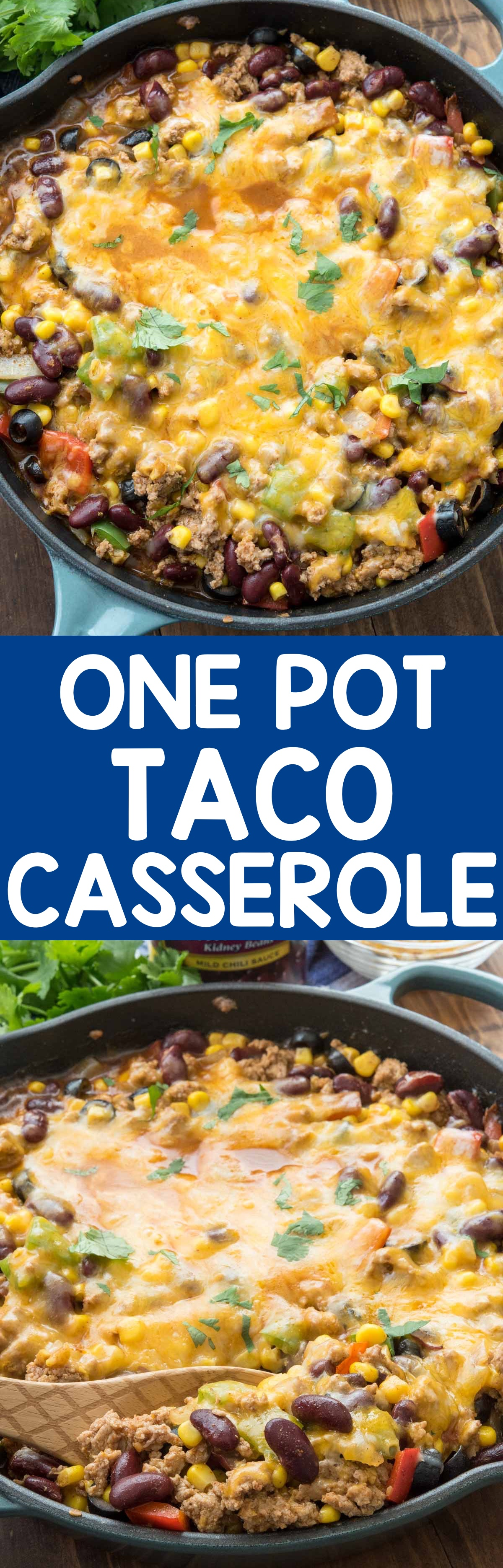 One Pot Taco Casserole is an easy weeknight meal! It's the perfect amount of spicy with ground turkey, chili beans, taco seasoning, and lots of cheese! We loved this meal and we ate it for leftovers with chips as a dip.