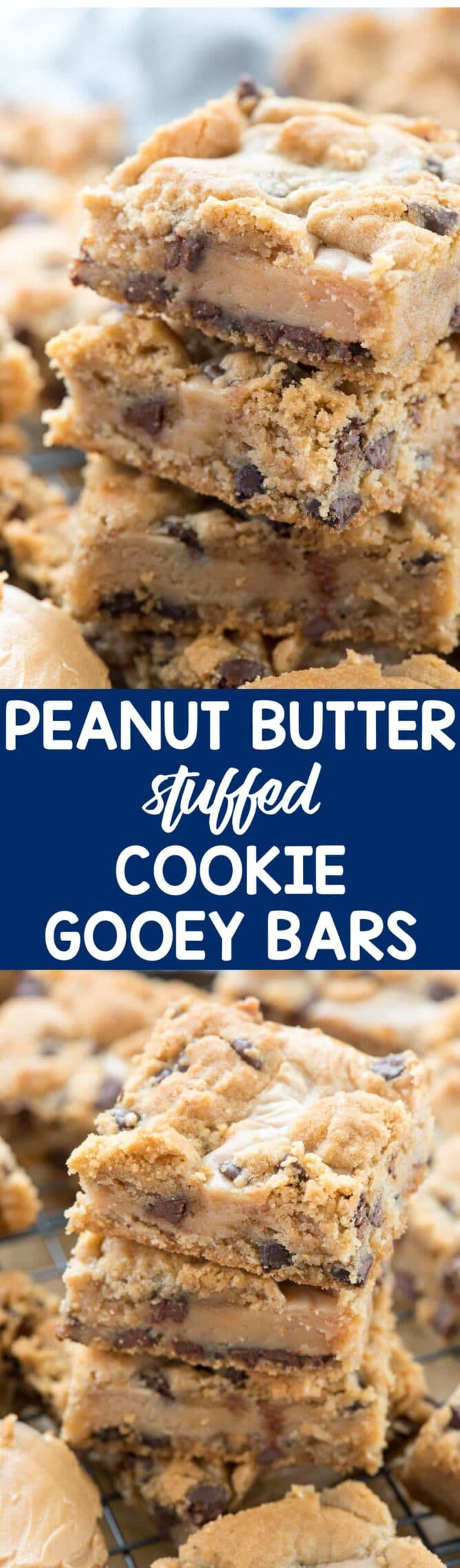 collage of Gooey Peanut Butter Chocolate Chip Cookie Bars photos