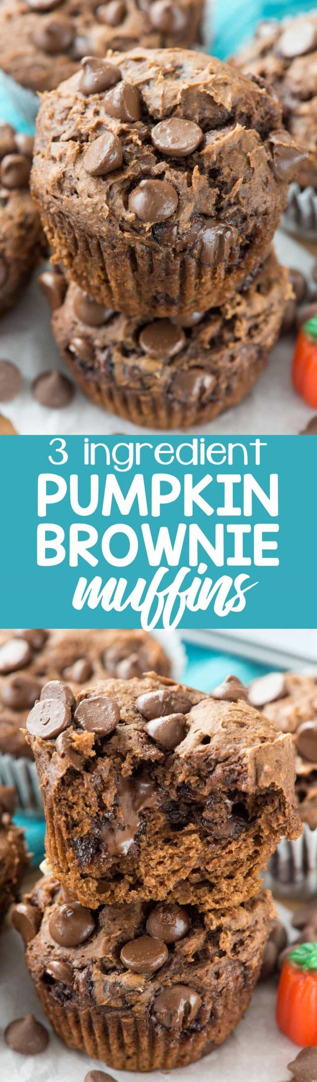Pumpkin Brownie Muffins have just 3 ingredients: cake mix, pumpkin, and CHOCOLATE! Such an easy recipe to make and they're so good, they even pass the kid test.