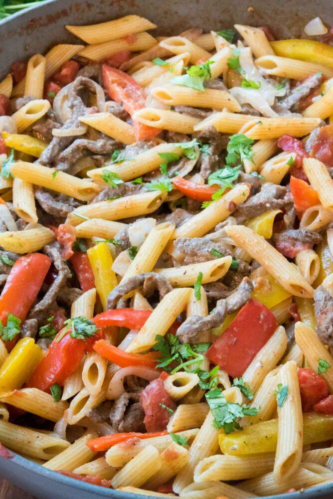 Steak Fajita Pasta close up of meal in pan