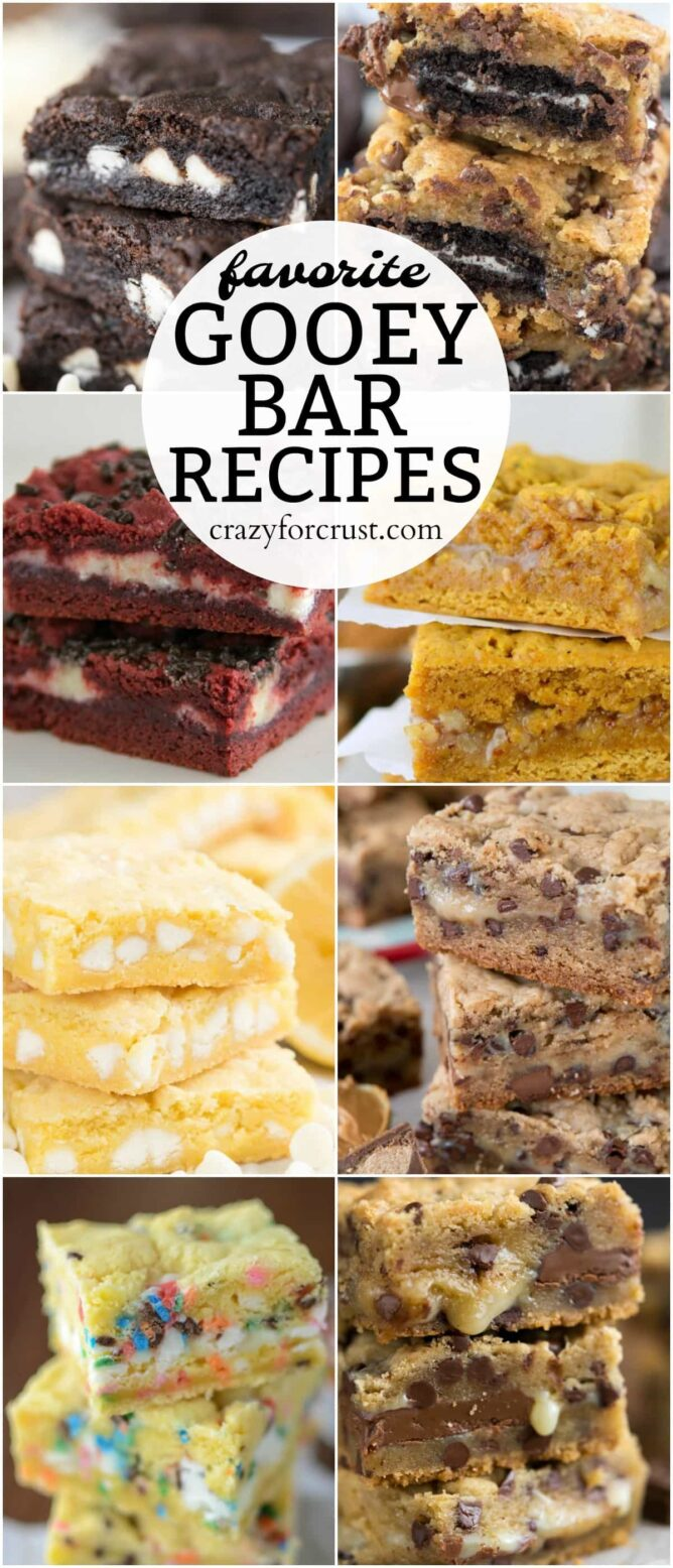 collage of A list of my FAVORITE Gooey Bar Recipes - this list has everything from cake mix gooey bars to cookie gooey bars and every flavor in between.