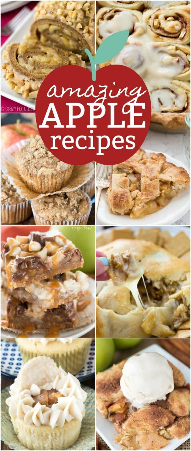 8 pic collage of amazing apple pie recipes with graphics.
