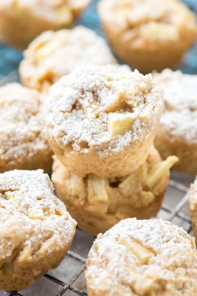 Apple Cheesecake Cookie Cups in a stack on a rack