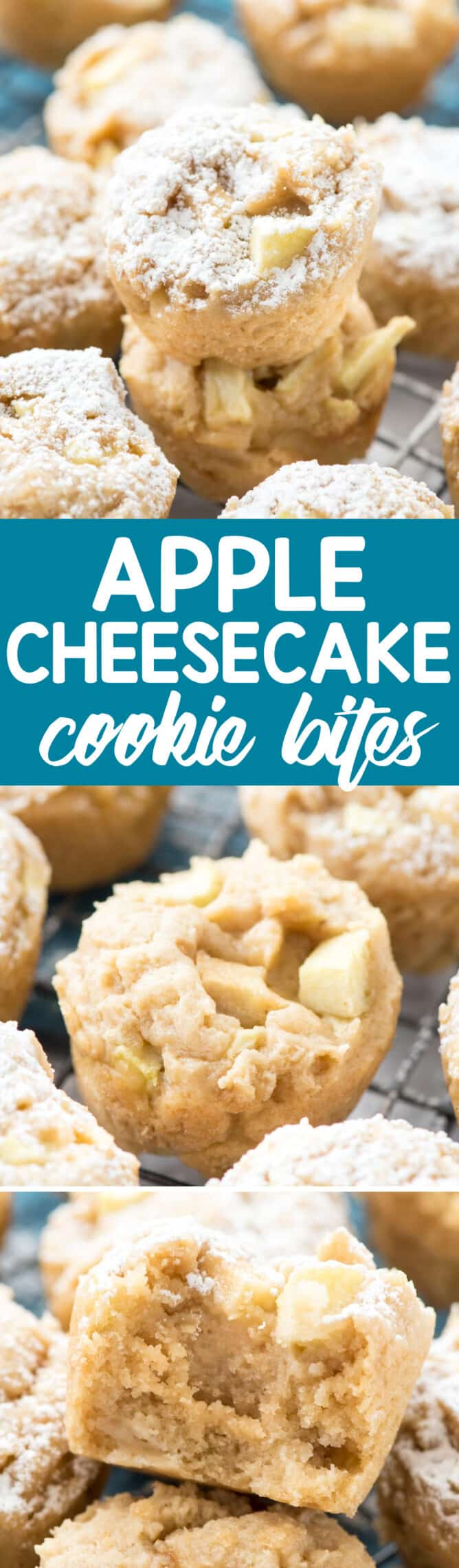 Apple Cheesecake Cookie Cups collage of three photos