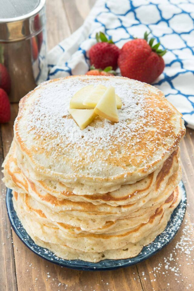 stack of apple fritter pancakes