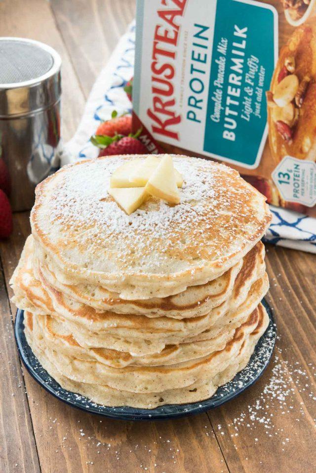 Apple Fritter Pancakes made using Krusteaz Protein Pancake Mix