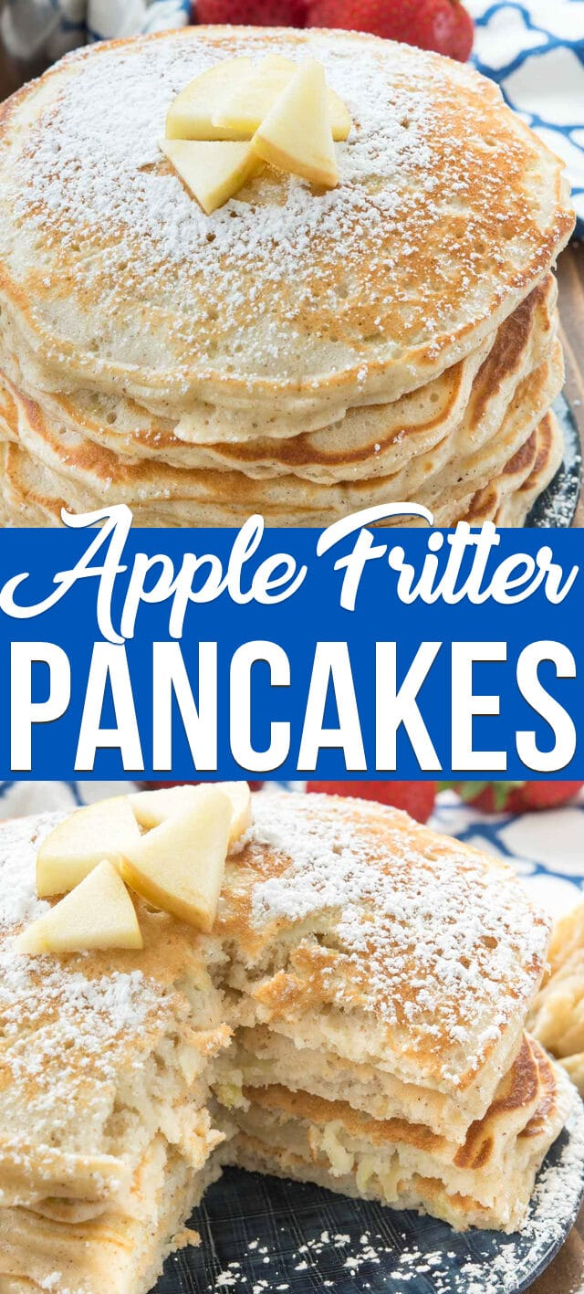 collage photos apple fritter pancakes