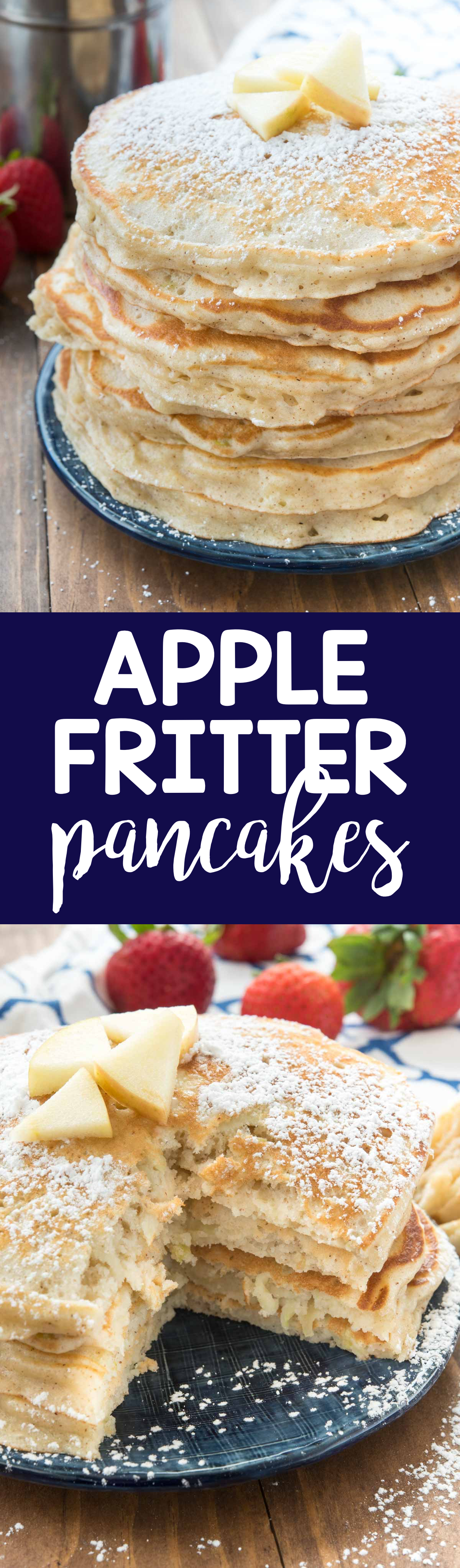 Apple Fritter Pancakes are FULL of grated apples and they're the perfect fall breakfast. Made with PROTEIN pancake mix, they fill you up too!