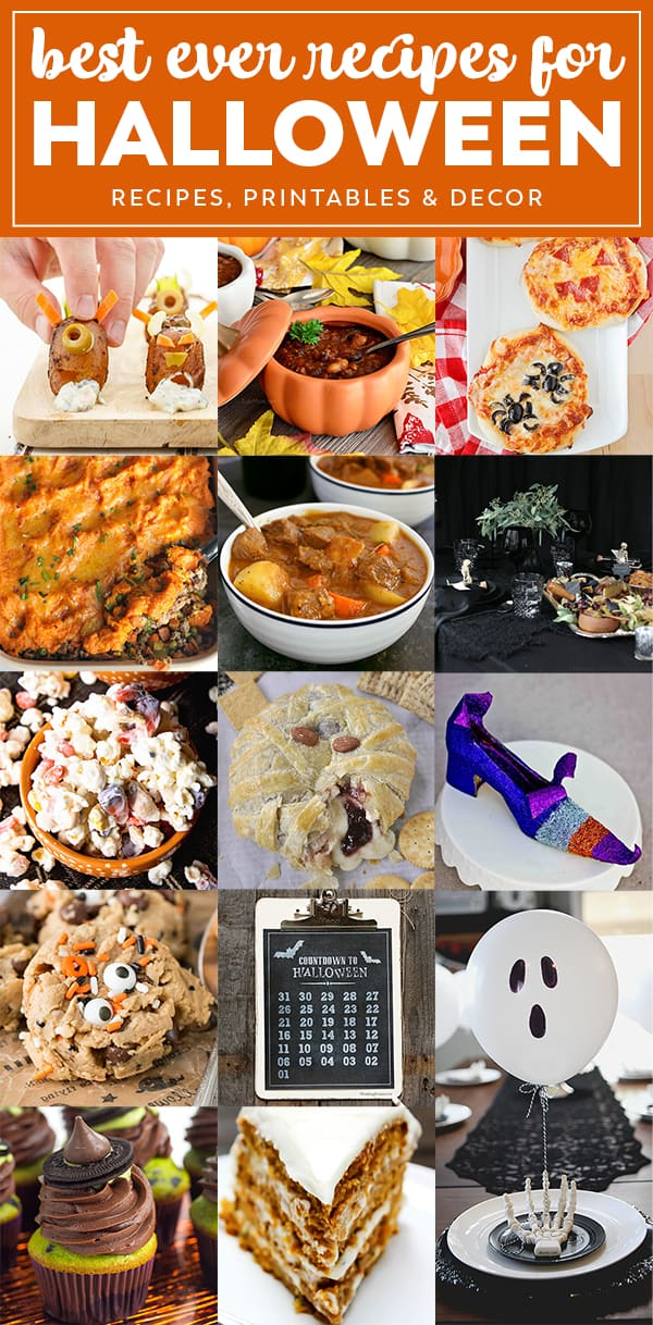 Looking for a Halloween Meal Plan that won't leave you going crazy on the big night? These ideas are perfect for dinners for the kids or adults, ideas to feed a crowd, desserts that are perfect for little monsters and even craft and table settings!