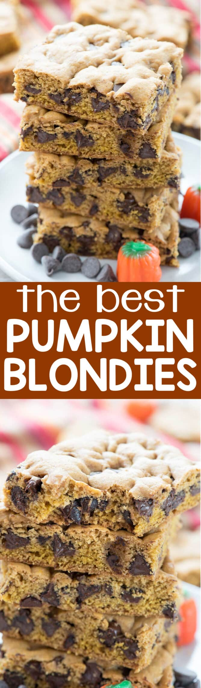The BEST Pumpkin Blondie Recipe collage of 2 photos