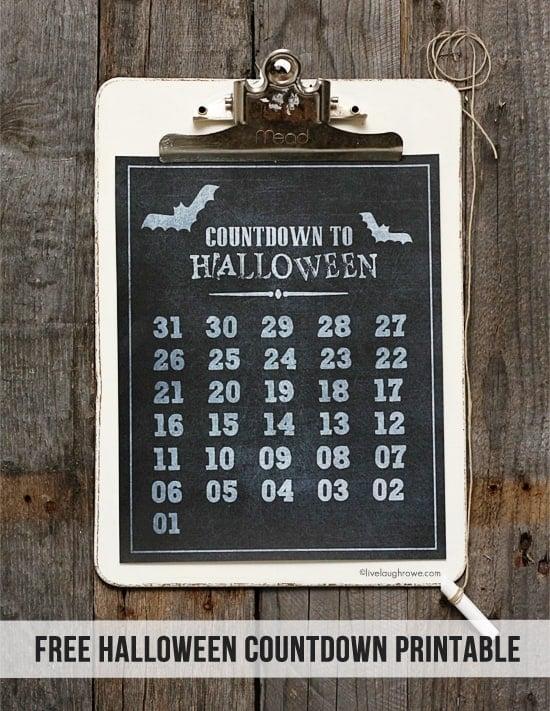 Halloween Countdown calendar hanging on the wall