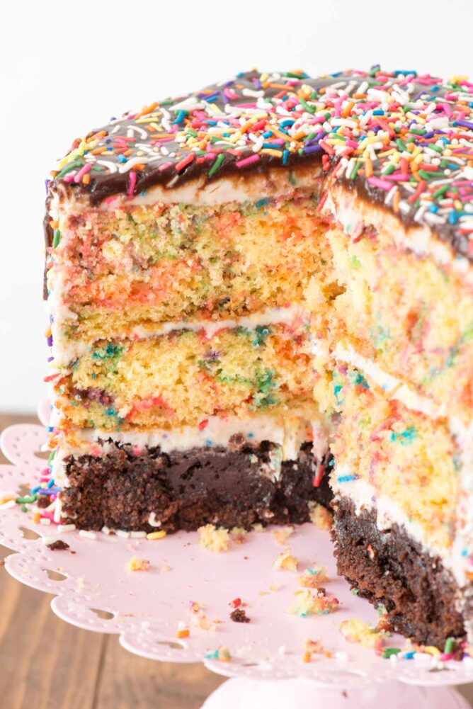 Funfetti Brownie Layer Cake