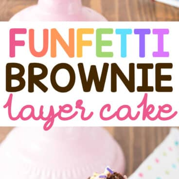 Collage of Funfetti Brownie Layer Cake
