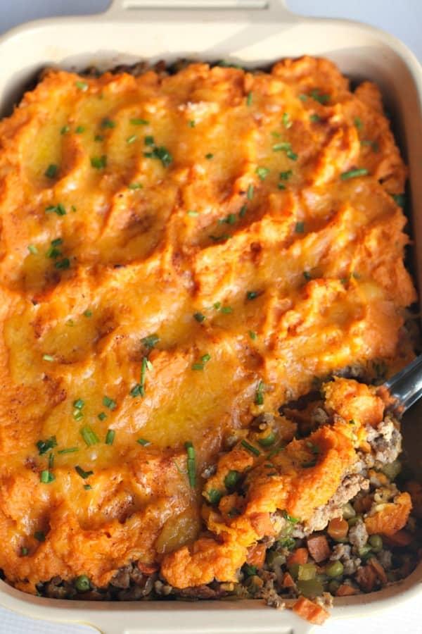 Sweet Potato Shepherd's Pie in a white casserole dish