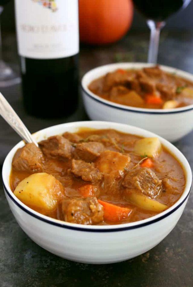 2 white bowls of Pumpkin Beef Stew fr