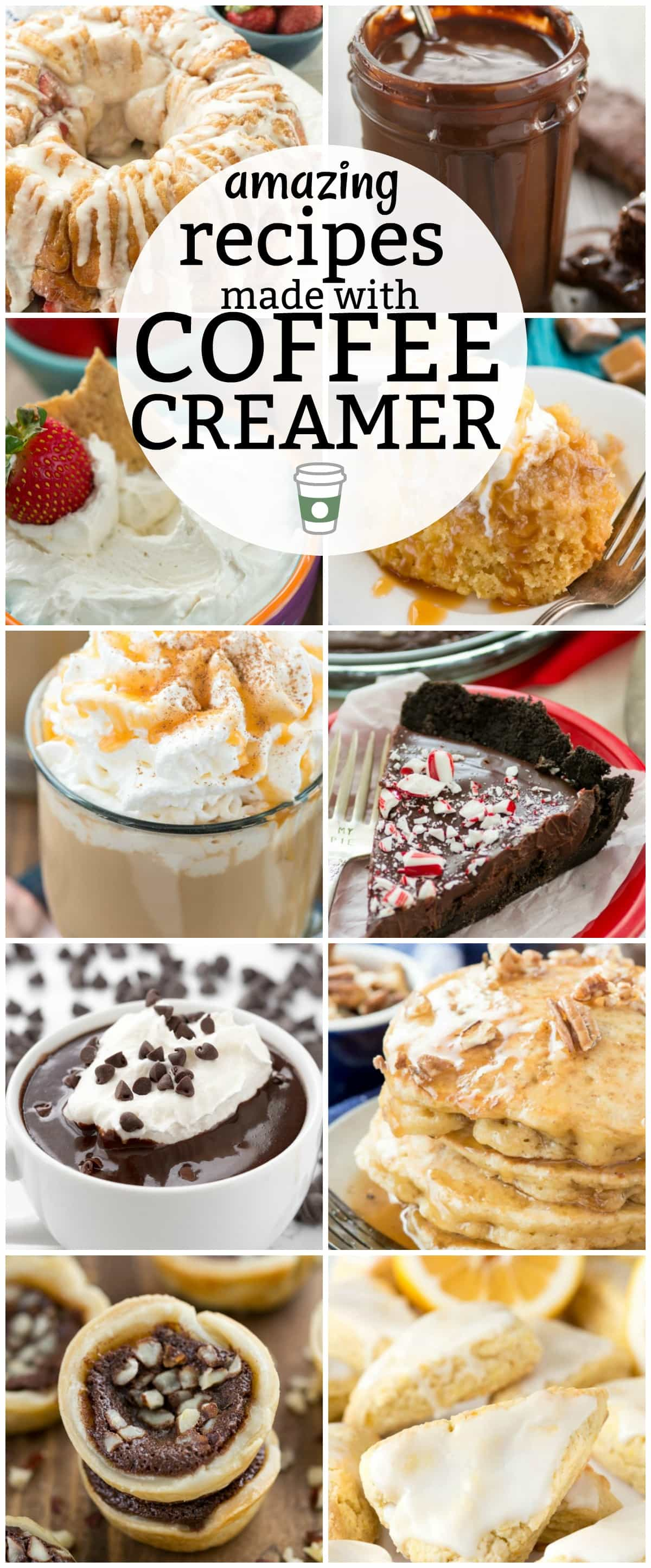 There are SO MANY recipes you can make with coffee creamer! Drinks, pancakes, cakes, pies, scones, dips, the options are endless. This list has over 38 amazing recipes made with Coffee Creamer!