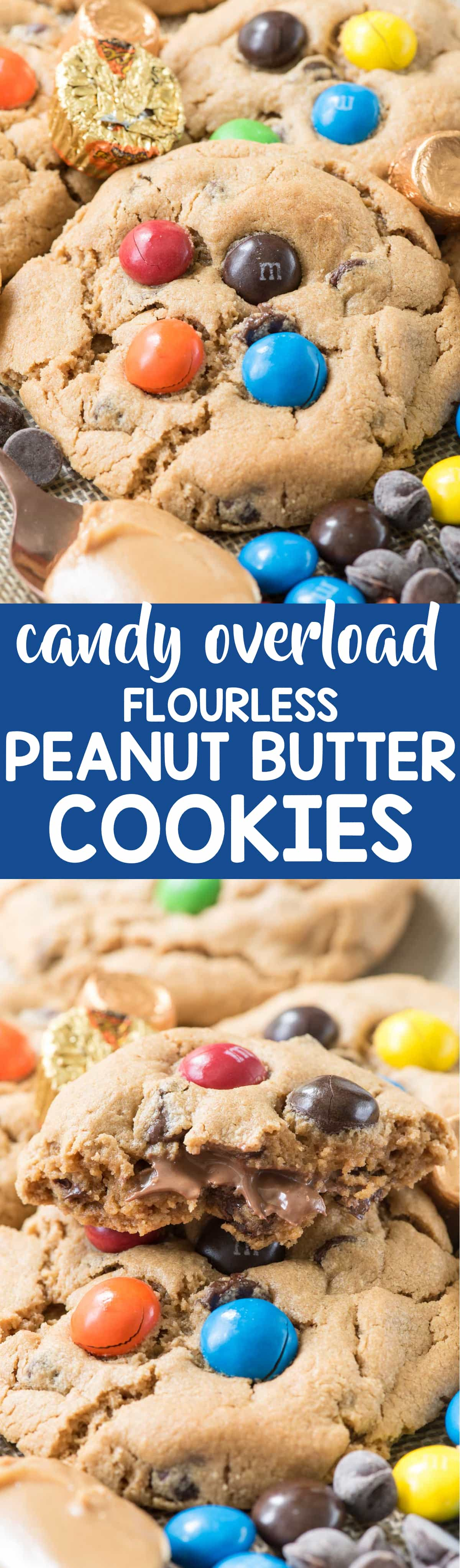 Candy Overload Flourless Peanut Butter Cookies - easy peanut butter cookies with no flour or butter! It's the best peanut butter cookie recipe and they're stuffed with peanut butter cups.