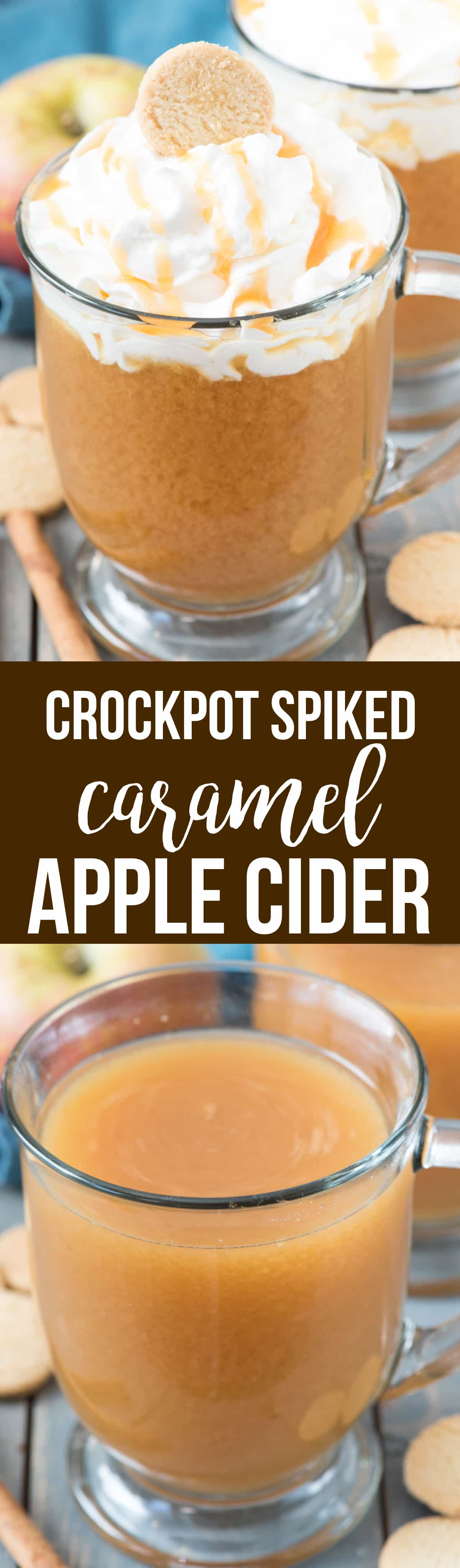 Spiked Crockpot Caramel Apple Cider - Make caramel apple cider in the slow cooker for a warm drink that is perfect for a crowd. Then spike it with vanilla vodka for the adults! This is everyone's favorite fall cocktail recipe.