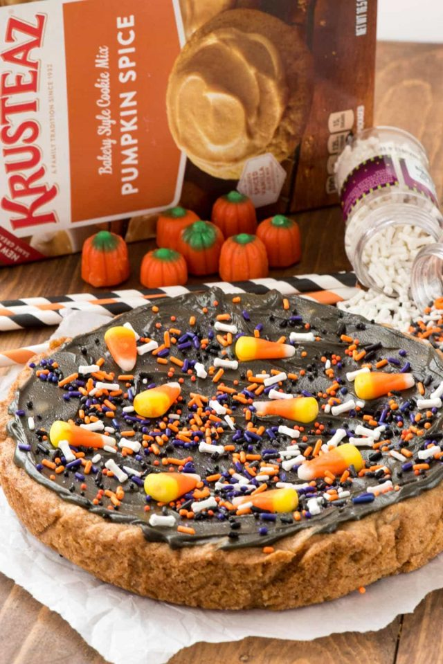 EASY Halloween Pumpkin Cookie Cake Recipe