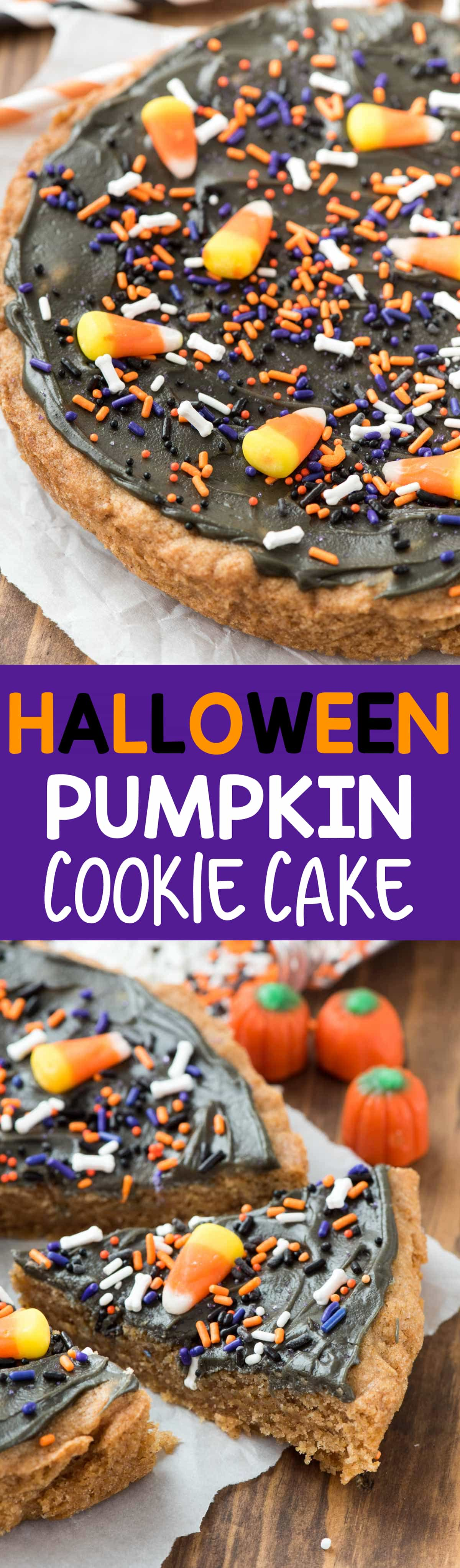 EASY Halloween Pumpkin Cookie Cake - the most fun Halloween treat! Thanks to a pumpkin cookie mix this recipe is made in minutes!!